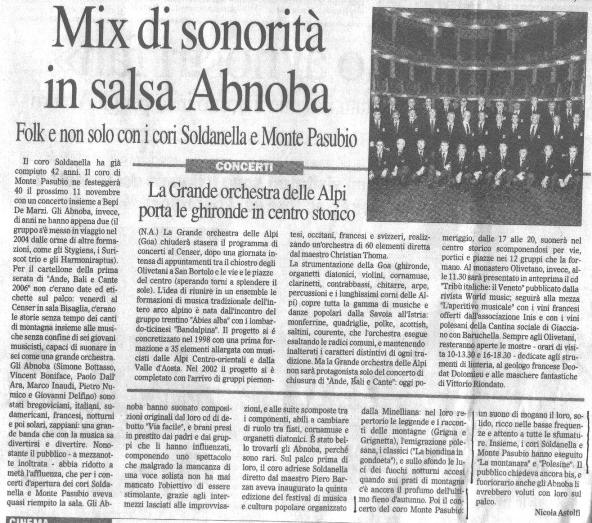 Mix di sonorità in salsa Abnoba