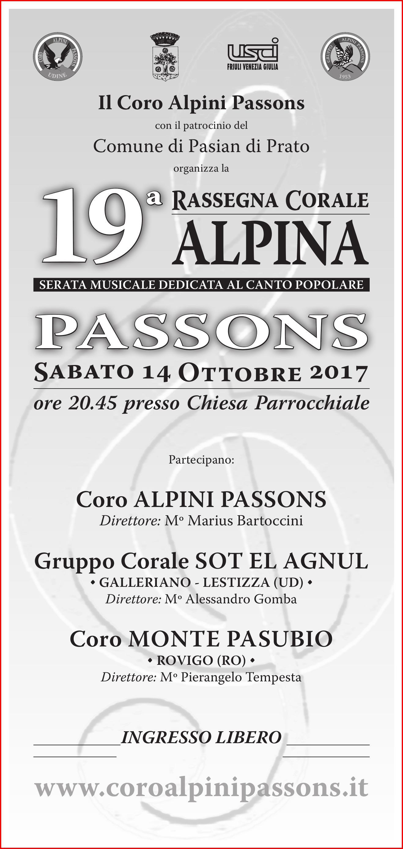 19^ Rassegna Corale Alpina Passons