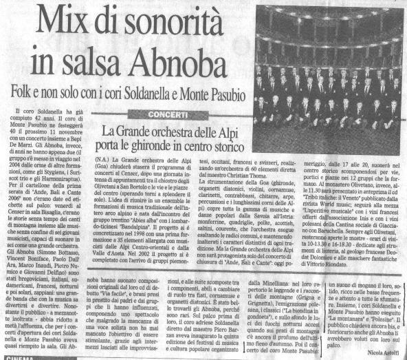 Mix di sonorità in salsa Abnoba